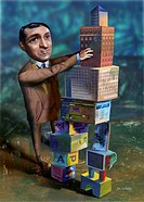 Man stacking building blocks