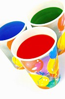 Party cups isolated against a white background