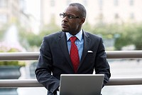 A businessman using a laptop Stockholm Sweden.