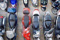Mopeds and scooters in line, Capri, Italy