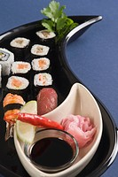 Close_up of various sushi in a platter