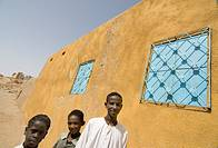 Boys in a typical Nubian style village, Nawri, Sudan