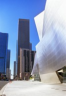Walt Disney Concert Hall and skyscraper, Los Angeles, California, USA