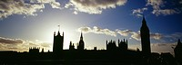 Houses of Parliament and Big Ben silhouetted at sunset, London, UK