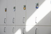 Row of school lockers with Padlocks on doors (thumbnail)
