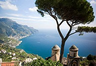 Gardens and sea view Villa Rufolo Ravello Amalfi Coast Campania Italy