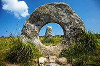 Men an Tol Megalithic Monument near Morva, Cornwall, England, UK