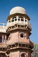 Tower detail, Shri Raj Ratan Bihari Mandir Temple, Bikaner, Rajasthan, India