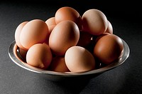 Close_up of a bowl of brown eggs