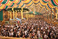 Crowd in Beer tent at Oktoberfest, Munich, Germany