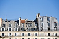 Rooftop facade of apartment houses, Paris, France