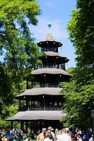 Chinese Tower beer garden in English Garden, Munich, Bavaria, Germany