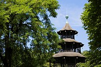 Chinese Tower beer garden in English Garden, Munich, Bavaria, Germany (thumbnail)