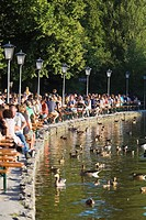 Large group of people in Seehaus beer garden, English Garden, Munich
