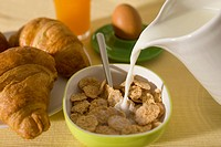 Continental breakfast still life with cereal (thumbnail)