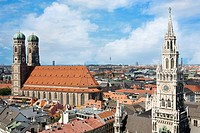 The Frauenkirche church and Rathaus bell tower, Munich, Germany