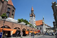 Viktualienmarkt and old town hall background Munich, Germany