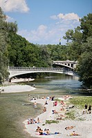 Beach and bridges over river Isar, Munich, Bavaria, Germany