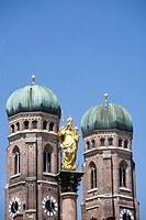 Towers of Frauenkirche and Mariensäule, Munich, Bavaria, Germany