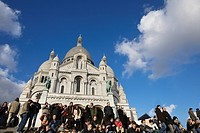 Crowd of tourists in front of Sacre Coeur basilica, Montmartre, Paris, France