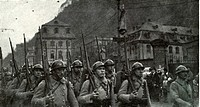 French soldiers march into the occupied Ruhr area of Germany after the First World War Circa 1923