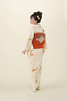 Japanese Woman Wearing Kimono And Geta