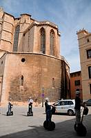 Tourists on segways, next to the Cathedral. Palma de Mallorca, Mallorca, Balearic Islands, Spain