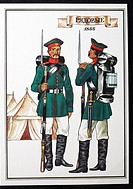 Uniform of enlisted men of infantry regiment of Russian army 1855, postcard, USSR, 1986