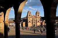 Peru, Cuzco Province, Cuzco, Plaza de Armas from the, archays, church La Compania in the background