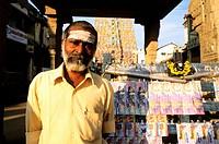 India, Tamil Nadu State, Kumbakonam, a lottery tickets seller