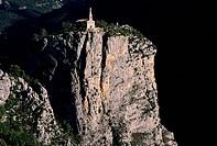 France, Alpes de Haute Provence, Verdon Regional Natural Park, Castellane, Notre Dame du Roc Chapel aerial view
