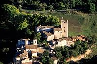 France, Alpes de Haute Provence, Verdon Regional Natural Park, Esparron de Verdon, 13th century castle donjon aerial view
