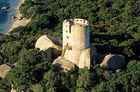 France, Corse du Sud, Figari Gulf, Caldarello Tower aerial view