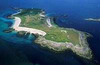 France, Finistere, iles des Glenan, ile Penfret aerial view