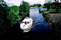 Ireland, Leitrim county, house boat on the Shannon_Erne waterway