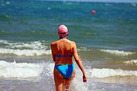 Swimmer woman in the Mediterranean sea (Spain)
