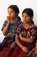 GUATEMALA Mayan Indian girls of Chajul, El Quiche, wearing their traditional dress