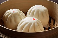 Close up of steamed buns, bao