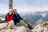 senior couple on mountain summit