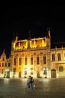 Belgium, Flanders, Brugge, Burg Square, Town Hall.