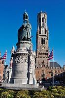 Belgium, Flanders, Brugge, Market Square, Belfort Tower.