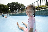 A girl at water slide