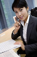 A businesswoman conversing on the mobile phone (thumbnail)