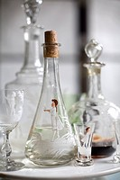 Various decanters and glasses