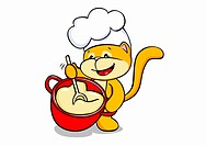 A cartoon cat cooking