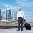 Low angle view of a businessman holding a suitcase