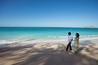Elevated view of a young couple walking at beach