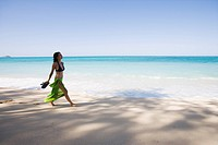 Side view of a young woman walking on beach (thumbnail)