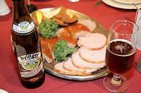 Michigan, Frankenmuth, Bavarian Inn Restaurant, German ethnic community, food, tray, pork meats, schnitzel, beer, Ayinger Brewery, ale, bottle, glass,...