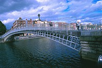 Dublin Ireland Half Penny Bridge over Liffey River